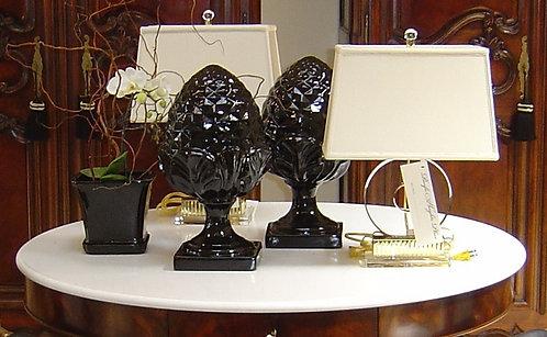 PAIR / Classic Pineapple Finials in Black Laquer