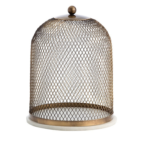 Antique Brass Wire Cloche with Marble Base