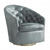 Steel Grey Leather Chair on Swivel