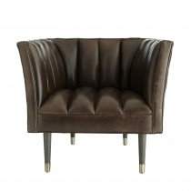 Channel Tufted Leather Chair in Bark