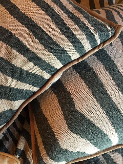 Zebra Throw and PAIR Pillows Co-Cashmere Knit Pillow