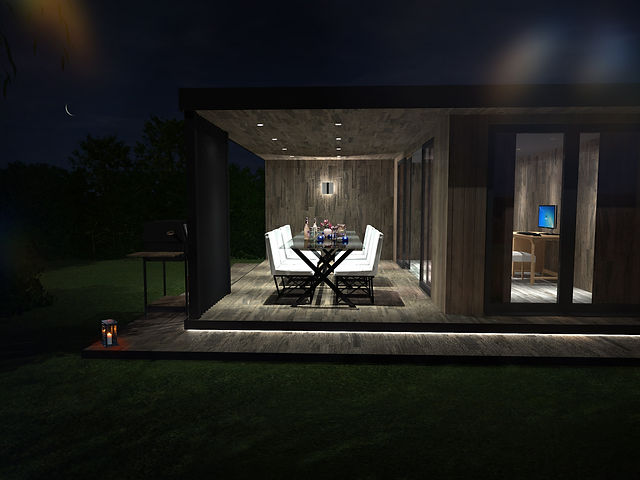 Illuminated Outside Dining Space in Bespoke Garden Room
