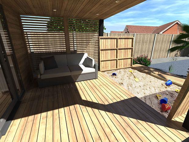 Bespoke Garden Room Design and Build with Integrated Sandpit