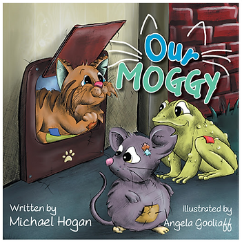 Moggy, the cat with a mouse and a frog on the cover of a children's book.