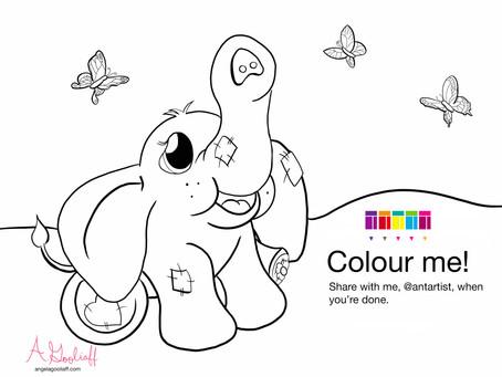 Free Elephant Colouring Page