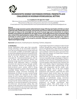 NIGERIA HYDROKINETIC ENERGY CONVERSION SYSTEMS N