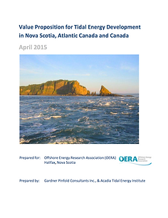 Value Proposition for Tidal Energy Development in Nova Scotia, Atlantic Canada and Canada April 2015