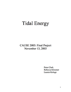 Tidal Energy CAUSE 2003: Final Project November 13, 2003