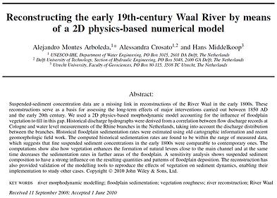 Reconstructing sediment transport Waal R