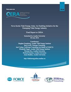 Nova Scotia Tidal Energy Atlas: An Enabling Initiative for the Emerging Tidal Energy Industry
