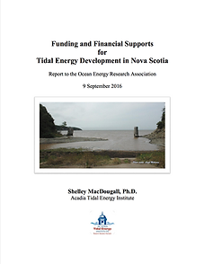 Funding and Financial Supports for Tidal Energy Development in Nova Scotia