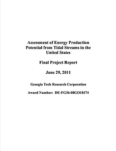 Assessment of Energy Production Potential from Tidal Streams in the United States
