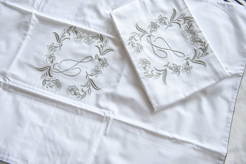 Monogrammed Flora Satin Insert Pillowcase - L in Silver (Pair)