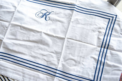 Monogrammed King Size Tres Sham - K in Navy Blue (Pair)