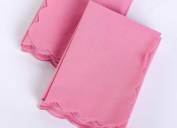 "Dusty Rose Scallop  Napkin - Set of 8 (18"" x 18"")"