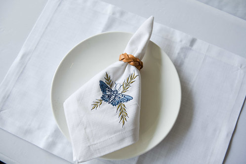 Blue Tiger Moth Placemat & Napkin Set