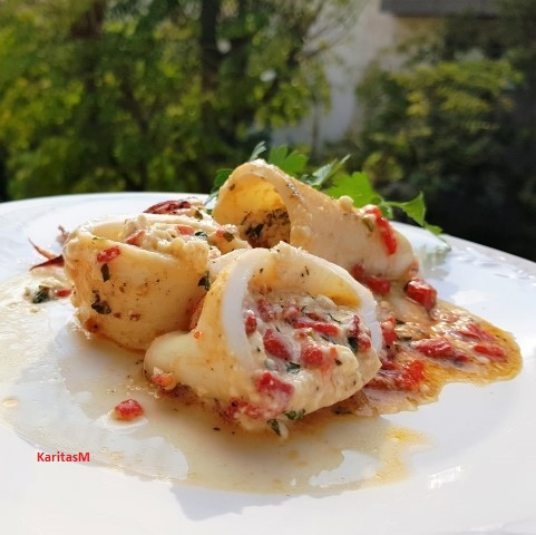 Stuffed squid cut & ready to be eaten