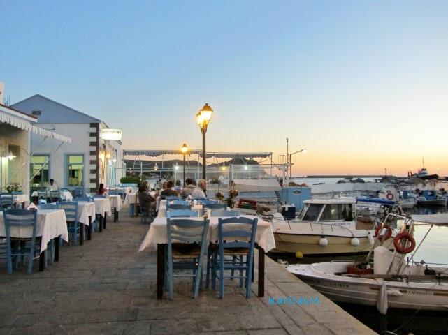 Dinner at Myrina harbor tavern - with a beautiful sunset