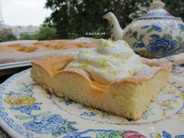 Apricot Sponge Cake with Yogurt topping with lemon zest