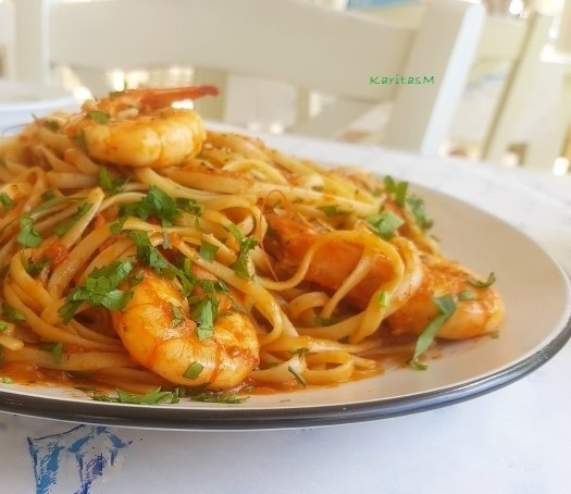 Garidomakaronada - Pasta with jumbo Shrimp