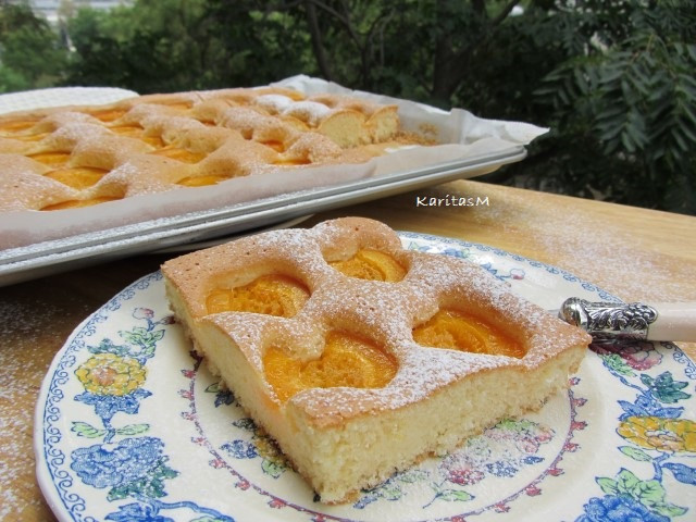 Apricot Sponge Cake - directly from of oven & sprinkled with confectionary sugar