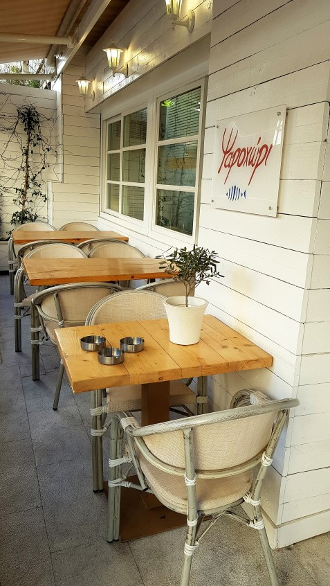 Outdoor tables of restaurant