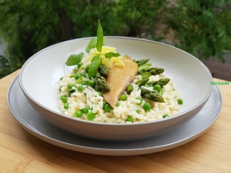 Lemon/Pea/Asparagus Risotto with Smoked Sea Bream