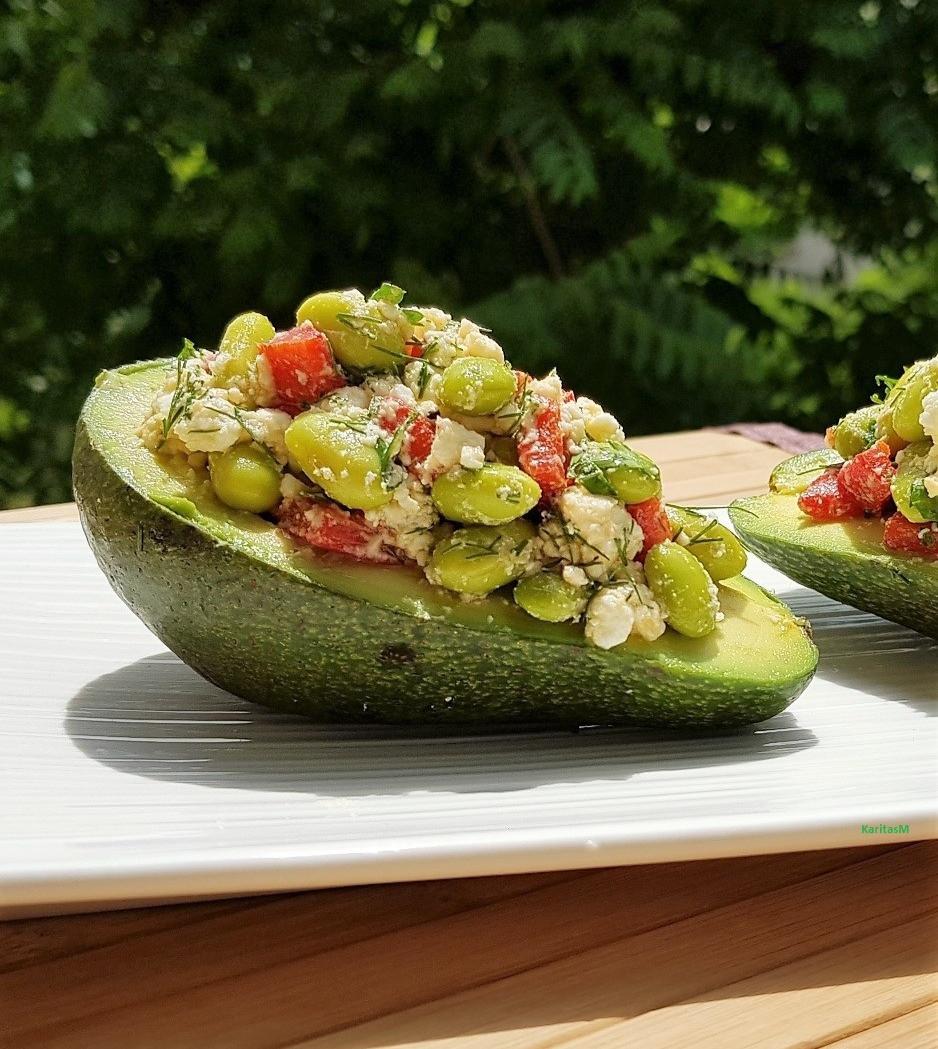 Avocado topped with Lima bean & Feta Salad