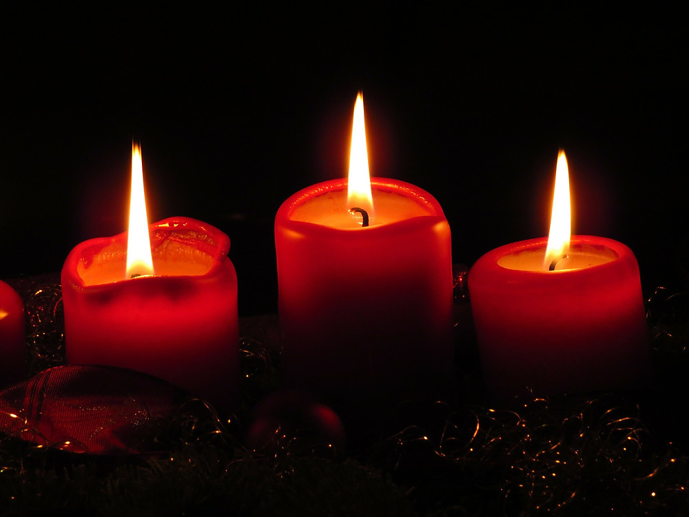 Candles with a warm glow