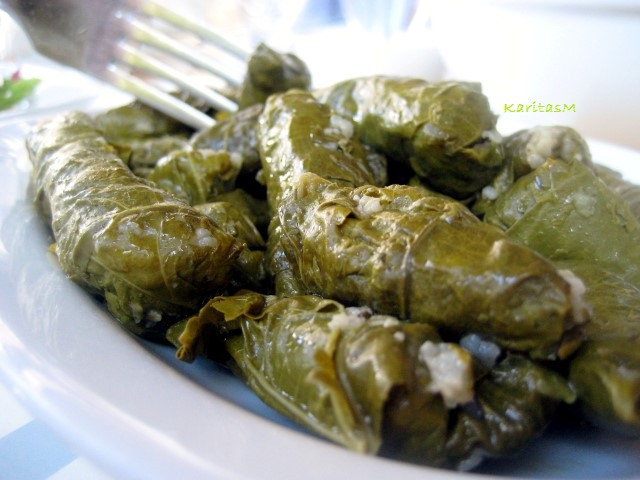 Dolmadakia -stuffed wine leaves with rice & herbs
