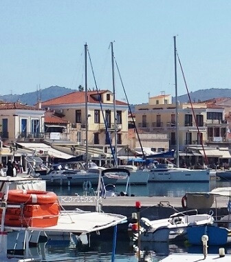 Aegina Harbor with Cafes, restaurants & yachts