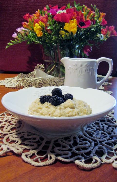 Cooked porridge for breakfast - granny's way!