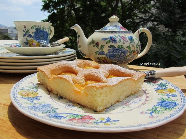 Teatime on my balcony in Athens - with a large piece of Apricot Sponge Cake