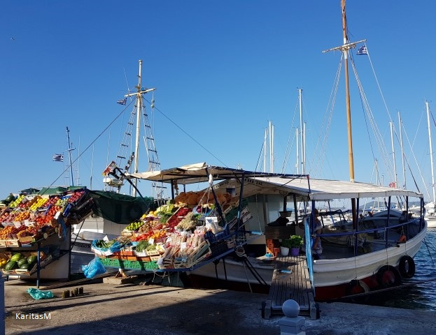 Fruit & veggie market at Aegina's seafront harbor
