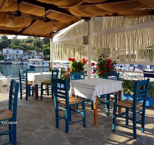 Seaside tavern in Vathi Harbor