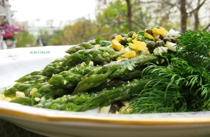Asparagus Salad with Fresh Dill. Capers and Hard Boiled Eggs