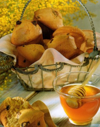 Basket filled with Heart Healthy Muffins served with Greek Honey