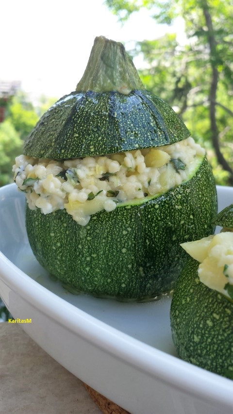 Stuffed Round Zucchini with Trachanas, Feta and Herbs