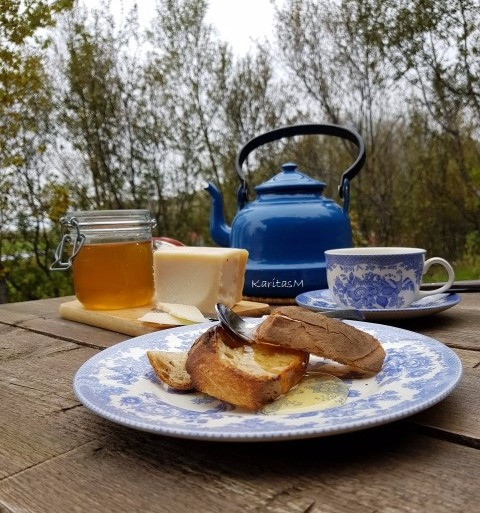 Breakfast on the terrace - toast, cheese & Icelandic honey