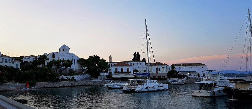 Strolling along seafront on Spetses island
