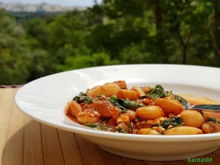 Baked Giant Butter Beans with Spinach & Feta Cheese