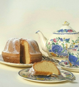 Granny's Pound cake with a cup & pot of tea
