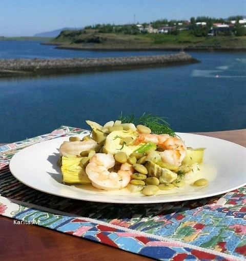 Summer Salad with Fennel, lima beans, artichokes & jumbo shrimp