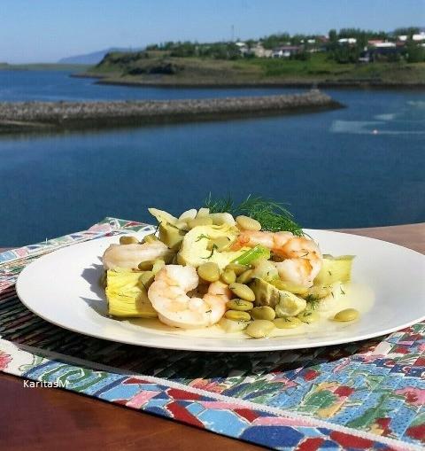 Summer Salad with Fennel, lima beans, artichokes & jumbo shrimp