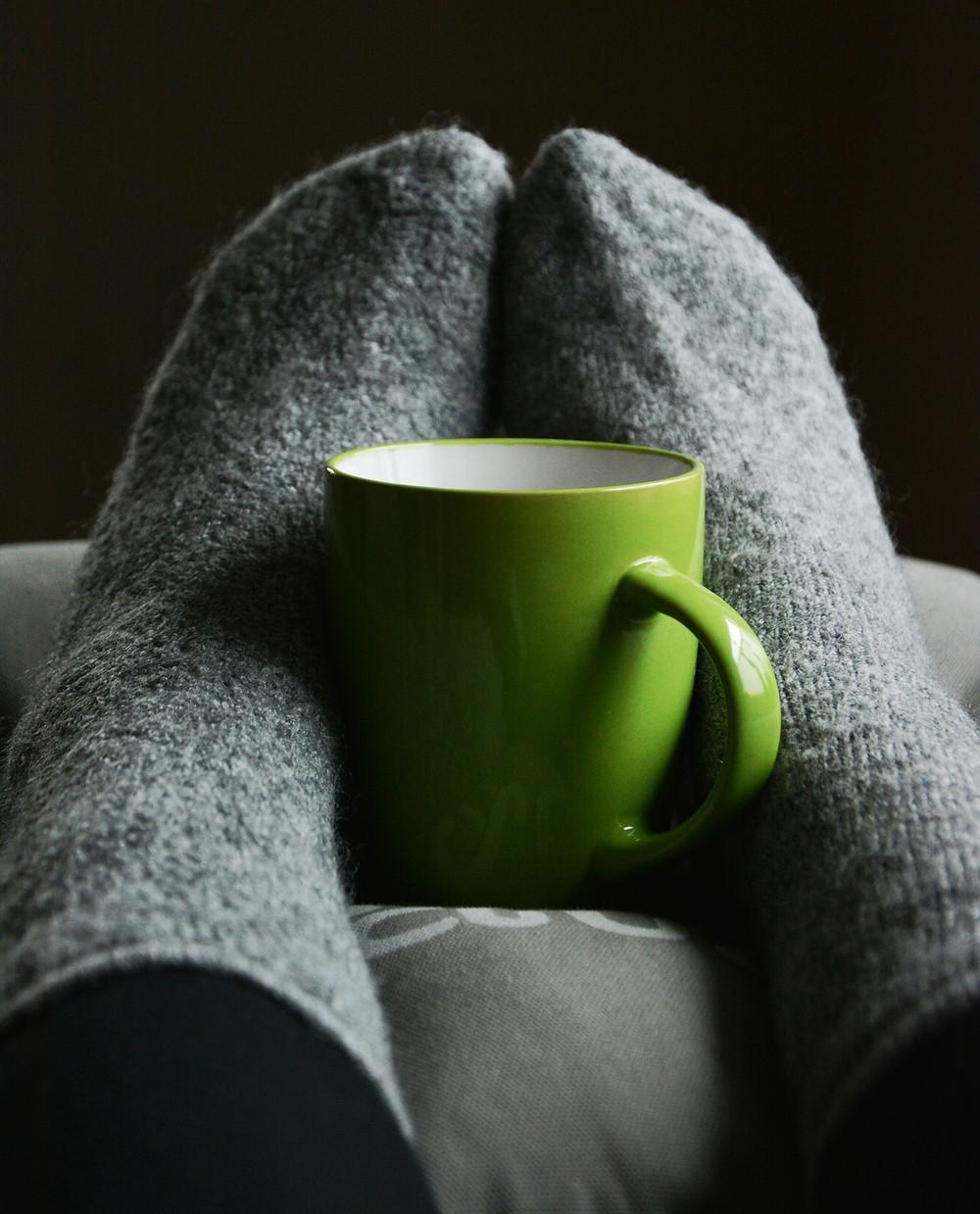 Warm woolly socks & a mug for a hot drink