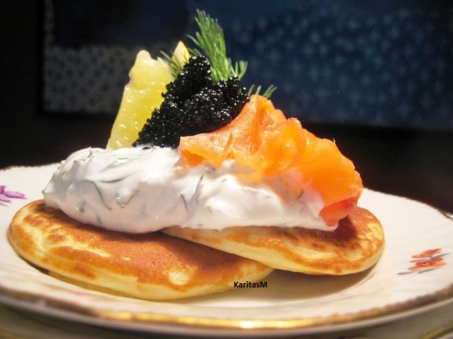 Mini Pancakes with Smoked Salmon