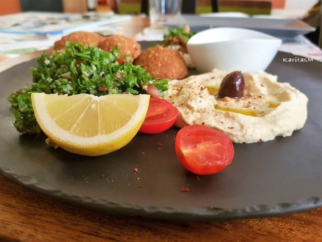 Meze Sampler with Hummus, Falafel & Salad