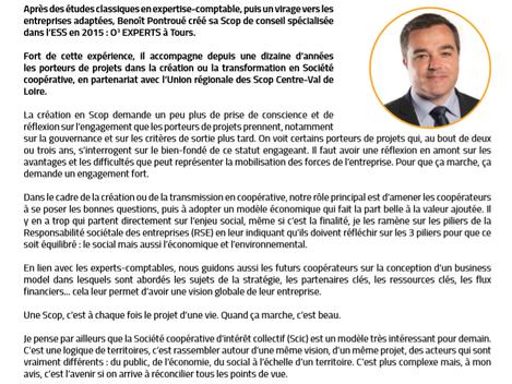 La lettre d'information des SCOP met à sa « une » le témoignage de Benoît Pontroué