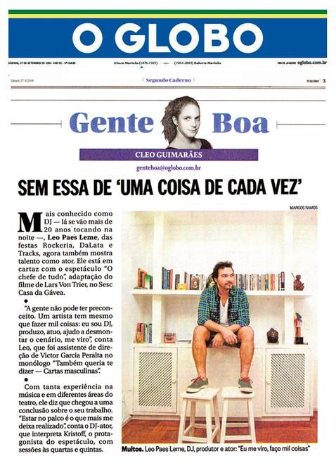O GLOBO | Segundo Caderno | 27.09.2014