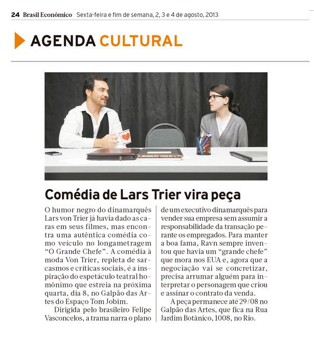 BRASIL ECONÔMICO | Agenda Cultural | 02.08.2013